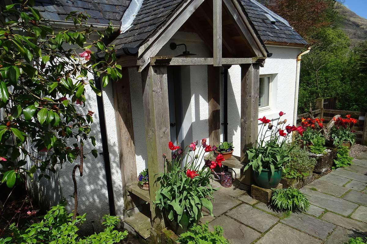 Ard-Daraich, self-catering, Ardgour - garden-studio, front-door