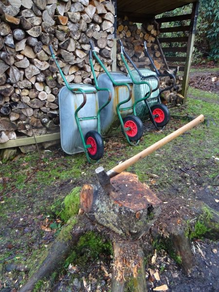 Poised for action - a fleet of wheelbarrows and the old stump and axe ready for log splitting.